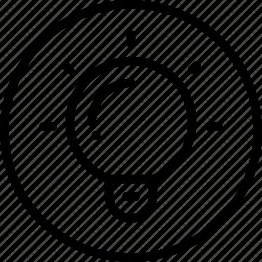 bulb, circle button, creative, idea, interface, light icon