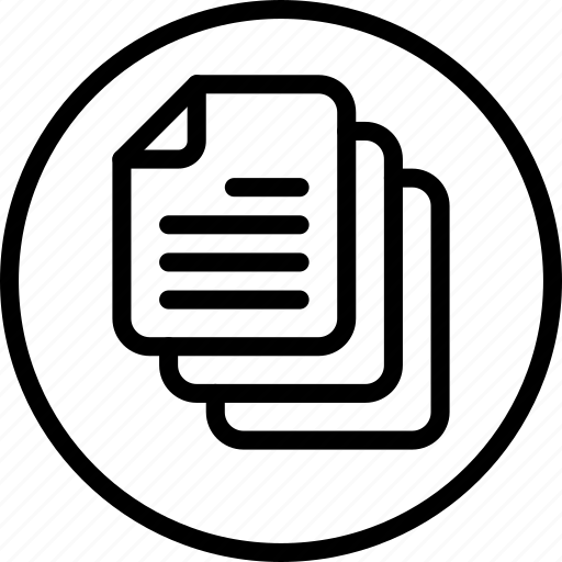 circle button, content, document, file, interface, paper, text icon