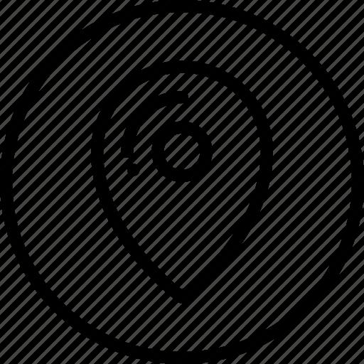 circle button, gps, interface, location, map, navigation, pin icon