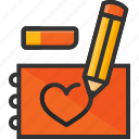 draw, eraser, heart, notepad, pencil, sketch icon