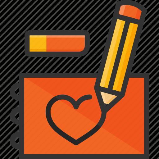 draw, eraser, heart, notepad, pencil, sketch icon