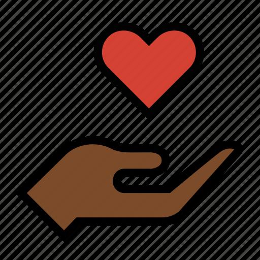 compassion, hand, heart, love icon