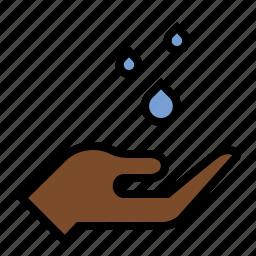 check for rain, drizzle, hand, rain drops, raining, water icon