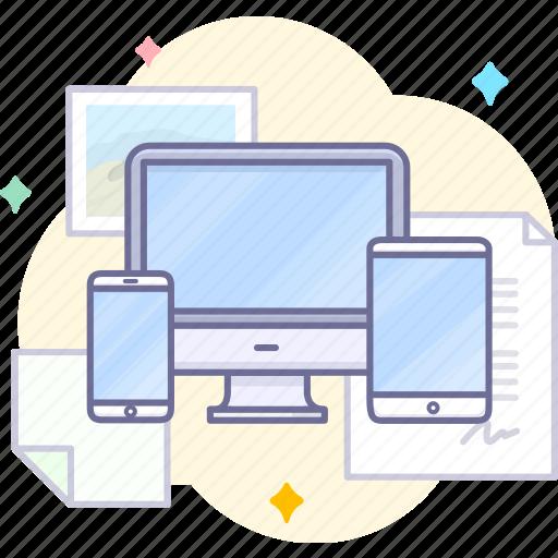 computer, laptop, mobile, synchronous icon
