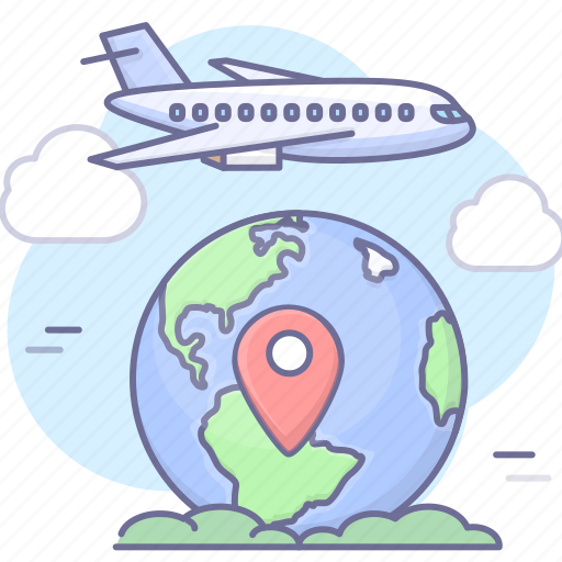aircroft, airplane, earth, flight, travel icon