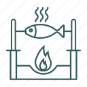 cook, cooking, fire, fish, food icon, sea food icon