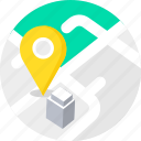 building, gps, location, map, office, workplace icon