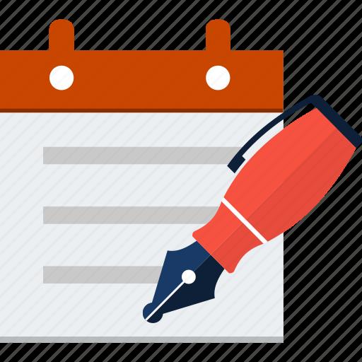 agenda, appointment, calendar, diary, event, pen icon