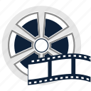 cinema, film, film reel, media, movie, reel, video icon