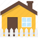 building, estate, fence, home, house, real icon