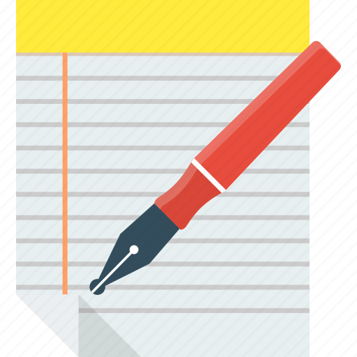 file, notepad, paper, pen icon