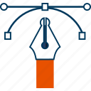 bezier, design, drawing, pen, tool icon