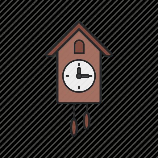 ancient clock, home, wall clock, wood icon