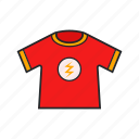 flash logo, gloth, red, t shirt icon