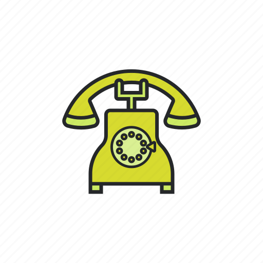 ancient, call, telephone, vintage icon