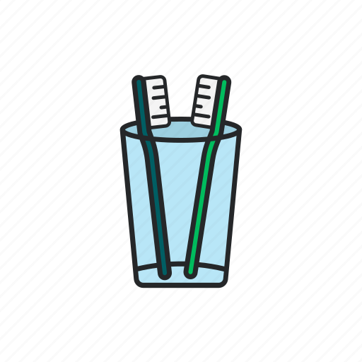 care, clean, glass, tooth brush icon