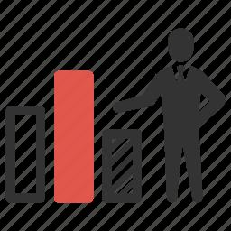 analysis, bar graph, businessman, chart, graph, presentation, statistic icon