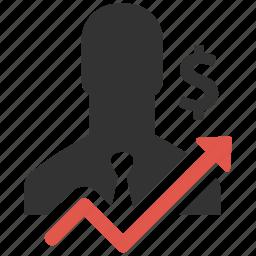 earn, finance, income, increase, money, sales growth, salesman icon