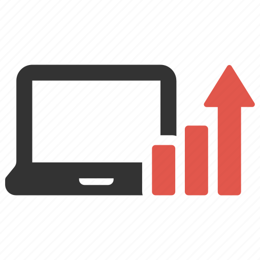 analysis, chart, computer, graph, growth, laptop, statistic icon