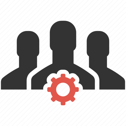community, gear, group, management, people, process, support icon