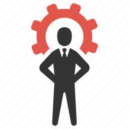 business person, cog, man, management, process, productivity, support icon