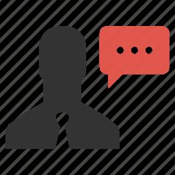 bubble, businessman, chat, person, speech, talk, user icon