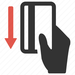 arrow, buy, credit card, down, hand, pay, payment icon