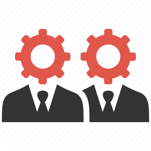 businessmen, gears, management, organization, process, productivity, support icon
