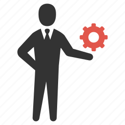 businessman, gear, optimize, options, process, productivity, support icon
