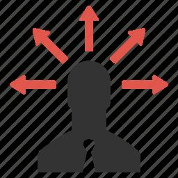 brainstorming, businessman, idea, planning, thinking, user icon