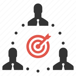 businessmen, community, connection, goal, group, people, target icon