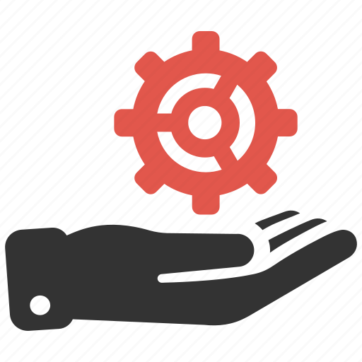 cog, gear, hand, optimization, options, process, support icon