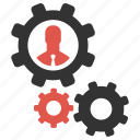 account, businessman, gears, management, productivity, profile, support icon