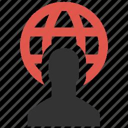 account, avatar, global, globe, profile, user, web icon