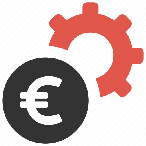 currency, euro, gear, money, payment, process, settings icon