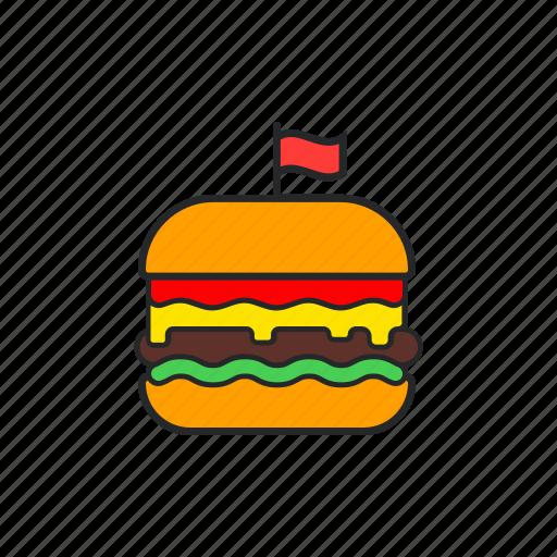 cheese, ham, hamburger, tomato icon
