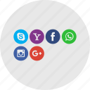 application icon, applilcation, facebook, google plus, yahoo icon
