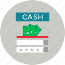 cash, crunch, money icon, password, user name icon