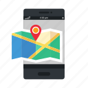 location, map, mobile, navigation, phone, smartphone icon, • app icon