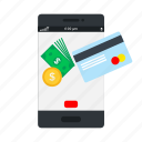 atm, bank, mobile, online pay, payment, phone icon, • card icon