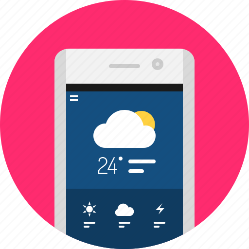 app, cloud, mobile, rain, weather icon