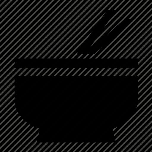 bowl, sticks, with icon