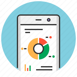 analysis, analytics, app, mobile, phone, report, reporting icon
