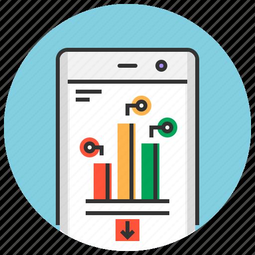 analysis, analytics, app, mobile, phone, report, reporting icon