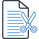 cut, deal, document, file icon
