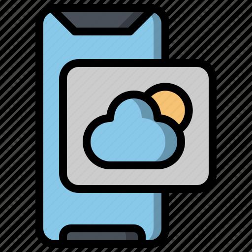 cloud, computing, mobilephone, smartphone, sun, ui, weather icon