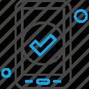 application, check, mobile, tick