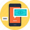 banking, mobile, money, payment, phone, sms, transaction icon