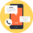 call, communication, connection, email, message, mobile, phone icon