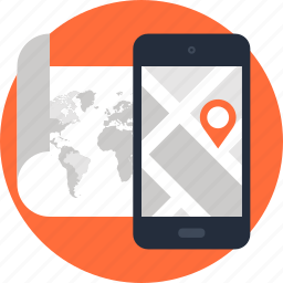 address, gps, location, map, mobile, navigation, phone icon